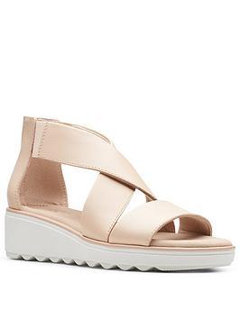 Clarks Clarks Jillian Rise Low Leather Wedge Sandal - Blush Picture