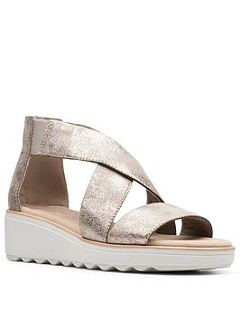 Clarks Clarks Jillian Low Rise Leather Wedge Sandal - Pewter Picture