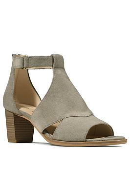 Clarks Clarks Kaylin60 Suede Glad Leather Heeled Sandal - Sage Picture