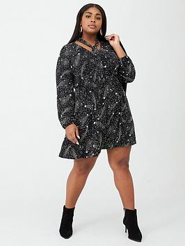 oasis-curve-star-pussybow-skater-dress-mono