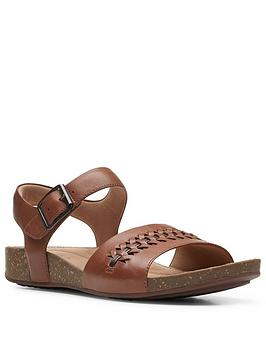 Clarks Clarks Un Perri Way Leather Flat Sandal - Dark Tan Picture