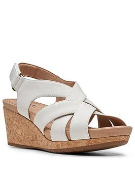 Clarks Clarks Un Capri Step Leather Wedge Sandal - White Picture