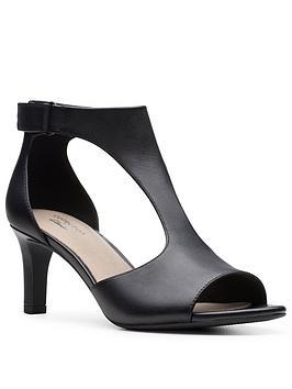 Clarks  Alice Flame Leather Heeled Sandal - Black