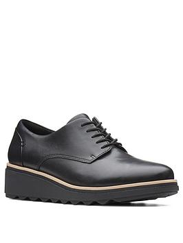 Clarks Clarks Sharon Noel Leather Wedge Brogues - Black Picture
