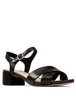 Clarks Clarks Sheer35 Strap Leather Block Heel Sandal - Black Picture