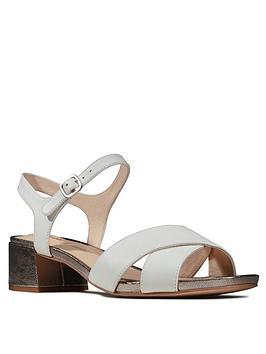 Clarks Clarks Sheer35 Strap Leather Block Heel Sandal - White Picture