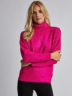 dorothy-perkins-dorothy-perkins-boucleacute-roll-neck-jumper-pink