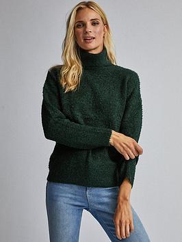 dorothy-perkins-dorothy-perkins-boucle-roll-neck-jumper-green