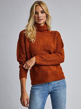 dorothy-perkins-dorothy-perkins-boucle-roll-neck-jumper-tobacco