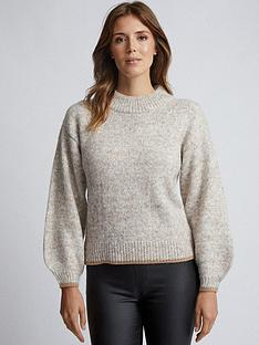 dorothy-perkins-knitted-trim-jumper-oatmeal