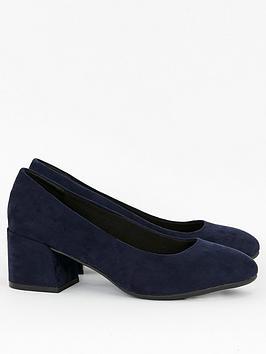 Evans Evans Wide Fit Firelli Block Microfibre Court Shoes - Navy Picture