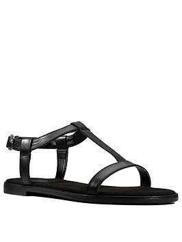 Clarks Bay Rosa Leather Flat T Bar Sandal - Black