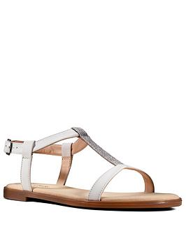 Clarks Clarks Bay Rosa Leather Flat T Bar Sandal - White Picture