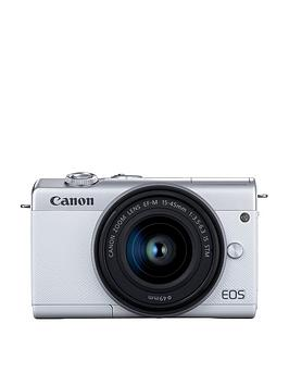 Canon    Eos M200 Csc White Camera Inc Ef-M 15-45Mm Silver Lens Kit