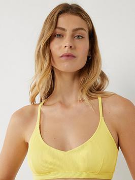Warehouse Warehouse Cross Back Ribbed Bikini Top - Yellow Picture