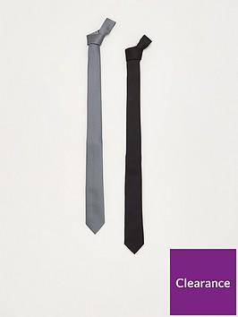 very-man-2-pack-slim-plain-ties-blackgrey