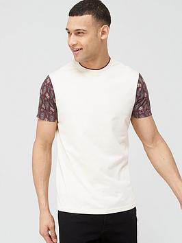 V by Very V By Very Cut &Amp; Sew Paisley Sleeve Print T-Shirt - Ecru Picture