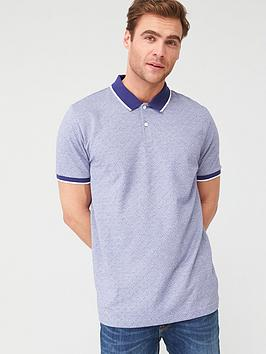 V by Very V By Very Ditsy Tipped Collar Polo Shirt - Blue Picture
