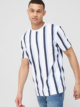 V by Very V By Very Vertical Stripe T-Shirt - White/Navy Picture