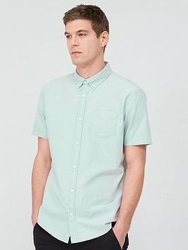 V by Very V By Very Short Sleeved Button Down Oxford Shirt - Mint Picture