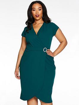 Quiz Curve Quiz Curve Wrap Diamante Buckle Dress - Bottle Green Picture