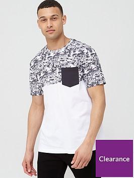 very-man-printed-beach-block-pocket-t-shirt-blackwhite