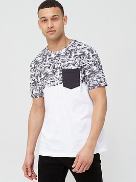 V by Very V By Very Printed Beach Block Pocket T-Shirt - Black/White Picture