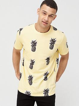 V By Very Pineapple Print T-Shirt - Yellow