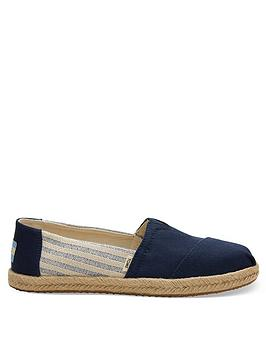 TOMS Toms Vegan Alpargata University Striped Espadrille - Navy Picture