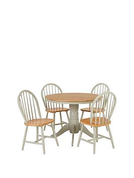 Very New Kentucky 100 Cm Round Dining Table + 4 Chairs Picture
