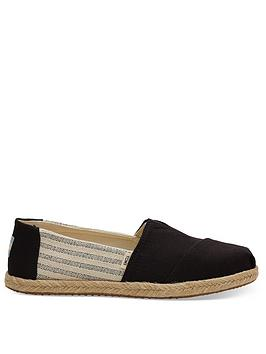 TOMS Toms Vegan Alpargata University Striped Espadrille - Black