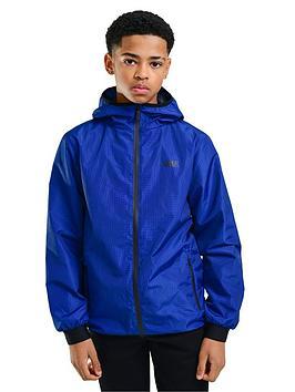Rascal Rascal Childrens Distorted Aop Grid Windbreaker Jacket - Blue Picture
