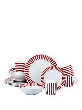 WATERSIDE Waterside Red Stripe 16-Piece Dinner Set Picture