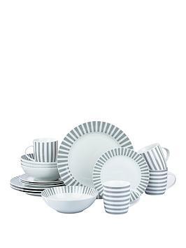 WATERSIDE Waterside Grey Stripe 16-Piece Dinner Set Picture