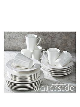 WATERSIDE Waterside 24-Piece White Embossed Linear Dinner Set Picture