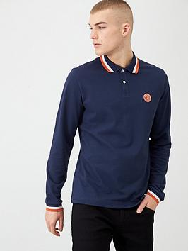 pretty-green-long-sleeved-tipped-collar-polo-shirt-navy