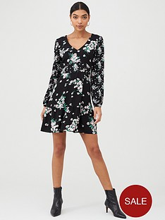 oasis-dandelion-patched-v-neck-skater-dress-black