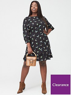 oasis-curve-ladder-trim-three-quarter-sleeve-bird-skater-dress-multiblack
