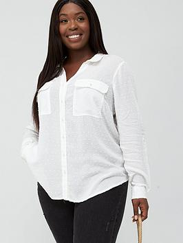 Oasis Curve Oasis Curve Viscose Dobby Shirt - Off White Picture