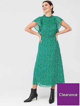 oasis-printed-ruffle-dress-greennbsp
