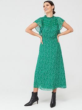 Oasis Oasis Printed Ruffle Dress - Green Picture
