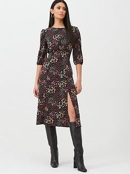 Oasis Oasis Mixed Ditsy Floral Empire Line Midi Dress - Black Picture