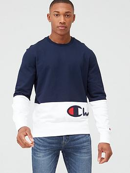 Champion Champion Colour Block Crew Neck Sweatshirt - Navy/White Picture