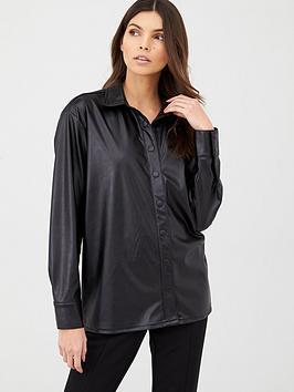 v-by-very-pu-shirt-black