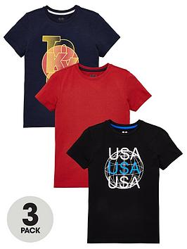 V by Very V By Very Boys 3 Pack Short Sleeve Graphic Print T-Shirts - Multi Picture