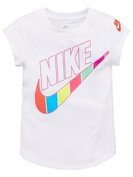 Nike Nike Sportswear Younger Girls Retro Stripe Logo Scoop T-Shirt - White Picture