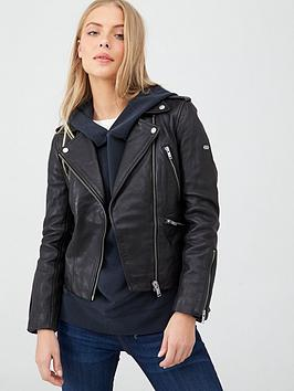 Superdry Superdry Long Sleeve Essentials Biker Jacket - Black Picture