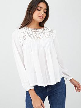 Superdry Superdry Ellison Lace Long Sleeve Top - White Picture