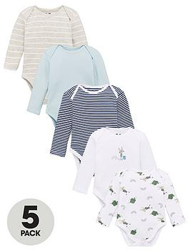 V by Very V By Very Baby Boys 5 Pack Long Sleeve Bodysuits - Blue Picture
