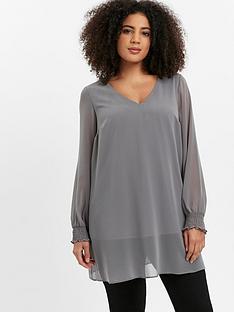 evans-v-neck-overlay-blouse-grey